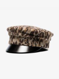 Ruslan Baginskiy Brown Furry Leopard Print Wool Blend Baker Boy Hat / hats / caps