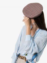 Ruslan Baginskiy Multicoloured Checked Wool Monogrammed Beret / check print berets