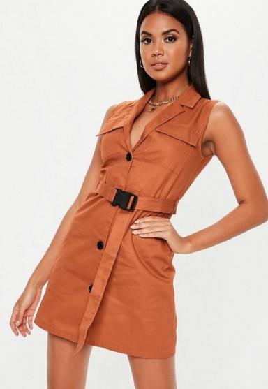 MISSGUIDED rust sleeveless belted blazer dress – orange-brown dresses