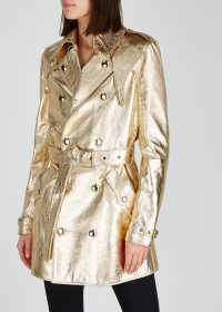 SAINT LAURENT Gold leather trench coat ~ metallic coats