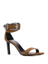 SAINT LAURENT Mica Western brown suede sandals