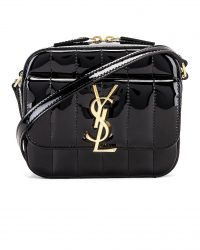 SAINT LAURENT Vicky Black Patent Leather Bag