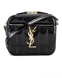 SAINT LAURENT Vicky Black Patent Leather Bag