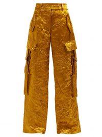 SIES MARJAN Sammie wide-leg crinkled-satin cargo trousers ~ gold side pocket pants
