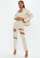 Missguided sand extreme ripped riot mom rigid jeans | destroyed neutral denim