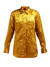 SIES MARJAN Sander crinkled-satin shirt in gold ~ creased effect clothing