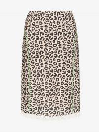 Sandy Liang Leopard Print Slippy Skirt / lace trim hemline