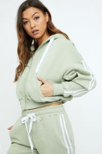 SARAH ASHCROFT SAGE GREEN OVERSIZED CONTRAST STRIPE HOODIE ~ cropped hoodies