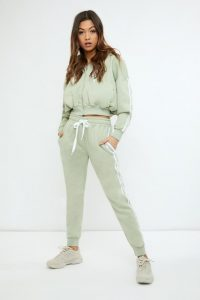 SARAH ASHCROFT SAGE GREEN OVERSIZED CONTRAST STRIPE JOGGERS ~ cuffed jogging pants