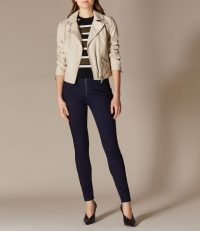 KAREN MILLEN Satin Denim Leggings in dark-denim ~ super stretch skinnies