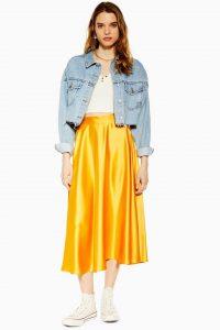 Topshop Satin Full Circle Midi Skirt in Marigold | yellow skirts