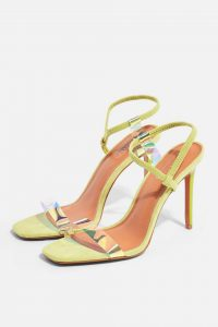 Topshop SATINE Square Toe Sandals in Lime