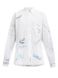 VETEMENTS Scribble-print cotton-poplin shirt in white / graffiti fashion