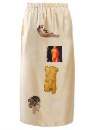 MARNI Sculpture-print silk-twill midi skirt in beige