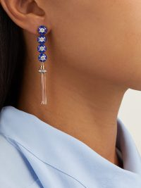 SELIM MOUZANNAR Sea Flowers diamond & 18kt rose-gold earrings ~ blue enamel tasseled drops