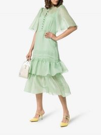 See By Chloé Floaty Sleeves Tiered Skirt Midi Dress in green / feminine vintage style fashion