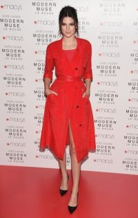 Kendall Jenner at the launch of the new Estee Lauder fragrance Modern Muse Le Rouge at Macy's Herald Square, NYC, 18 September 2015. Celebrity fashion | star style | celebrities in red | events