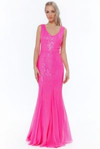 SEQUIN V-NECK MAXI DRESS – CERISE | Goddiva