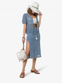 She Made Me Aahana Drawstring Crochet Cotton Skirt in blue | knitted side slit skirts