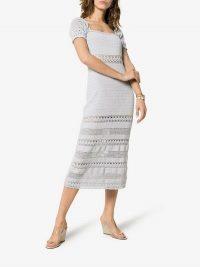 She Made Me Jaya Cotton Crochet Midi Dress in blue | feminine knitted dresses