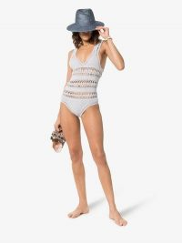 She Made Me Jaya Crochet One Piece in blue | knitted swimsuits