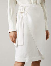 JOSEPH Shea Fluid Ramie Skirt in White | asymmetric wrap front design