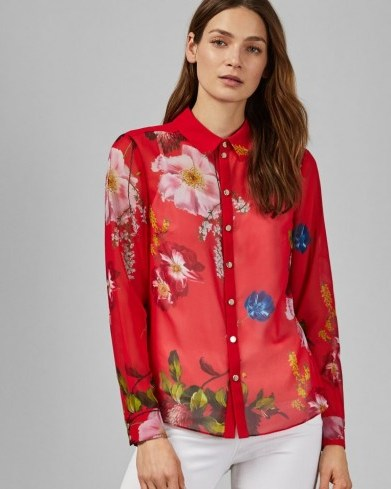 TED BAKER EEVILIN Shirring frill detail shirt in red / bright floral shirts - flipped