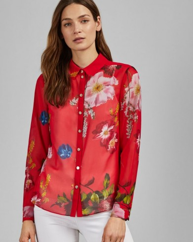 TED BAKER EEVILIN Shirring frill detail shirt in red / bright floral shirts