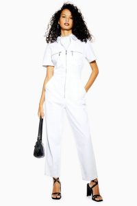 Topshop Short Sleeve Denim Boiler Suit in White | casual chic