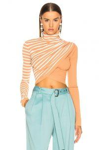 SIES MARJAN Jenn Wrap Crop Turtleneck Sweater in Cinnamon and Salt Stripe | draped crop hem jumper