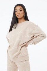 THE COUTURE CLUB SIGNATURE REPEAT PRINT SWEATER BEIGE ~ logo sweat top