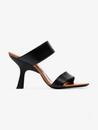 Simon Miller Black Tee 95 Slip-On Leather Sandals / chic angle heeled mules