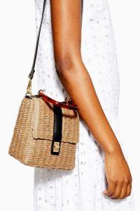 Topshop Skyla Straw Grab Bag in Natural