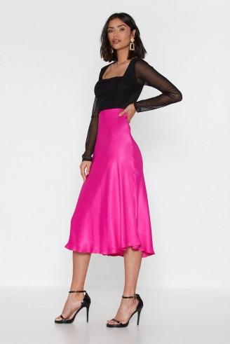 NASTY GAL Sleek Havoc Bias Cut Satin Skirt in Hot Pink – floaty skirts