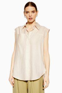 Topshop Boutique Sleeveless shirt in Stone | neutral tone fashion
