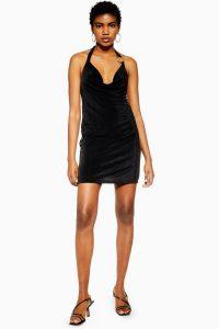 Topshop Slinky Halter Neck Mini Dress in Black | front plunge LBD