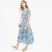 J.Crew Smocked prairie midi dress in floral cotton voile in Sage Sprig Ivory Sapphire | printed summer dresses