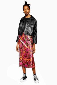 Topshop Snake Satin Bias Midi Skirt in Hot Pink | bright reptile print skirts