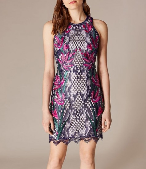 KAREN MILLEN Snakeskin Floral Lace Dress ~ embroidered bodycon