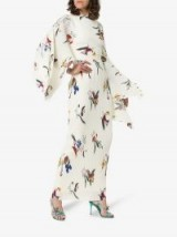 Solace London Adami Draped Maxi-Dress in White / kimono sleeved floral dresses