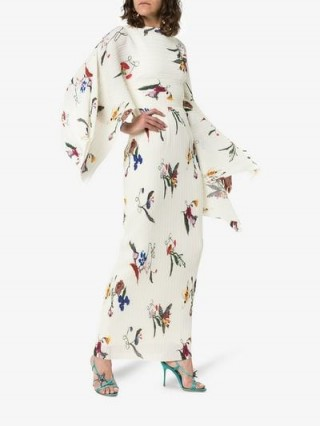 Solace London Adami Draped Maxi-Dress in White / kimono sleeved floral dresses