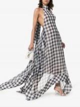Solace London Bibele Gingham Print Halterneck Asymmetric Hem Dress in Black and white / flowing maxi dresses