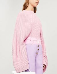 SOLACE LONDON Raynel ribbed-knit jumper in rose | pink oversized knits