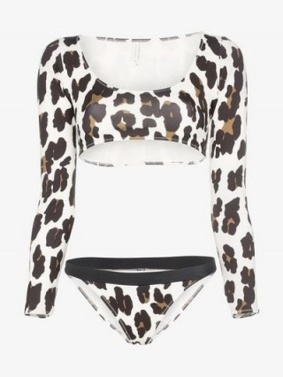 Solid & Striped Leopard Print Colette Top And Stacey Bottoms / animal printed swimwear
