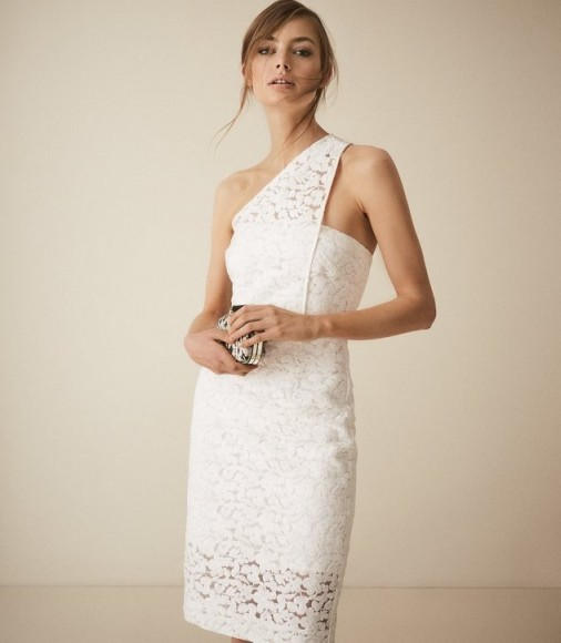 REISS SOPHIA ONE SHOULDER LACE DRESS WHITE ~ feminine cocktail outfit ~ beautiful event wear