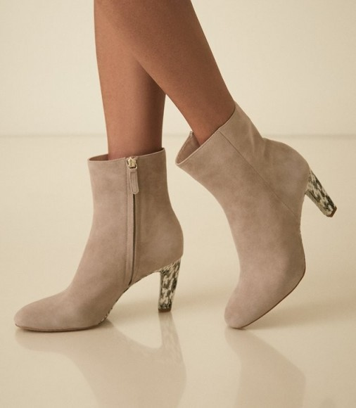 REISS SOPHIA SUEDE ANKLE BOOTS WITH SNAKE DETAIL TAUPE ~ neutral booties