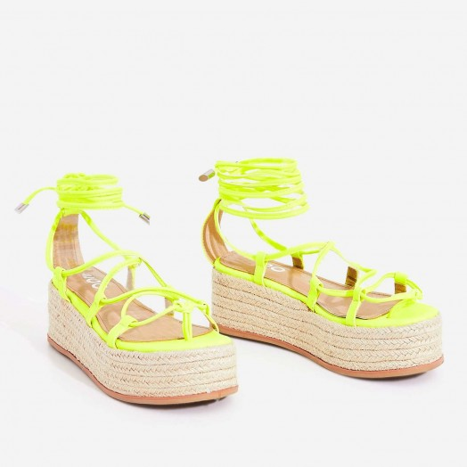EGO Sophina Lace Up Espadrille Flatform Sandal In Neon Yellow Faux Leather ~ strappy flatforms