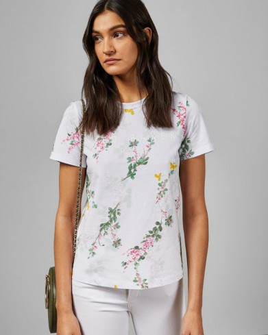 TED BAKER MALVANI Sorbet printed cotton T-shirt in white / floral and logo print tee