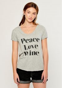 The Dressing Room SOUTH PARADE VALERIE PEACE, LOVE, WINE T-SHIRT – GREY – short sleeve cotton tee – wide v neckline