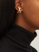 ALAN CROCETTI Space gold-plated silver ear cuffs ~ contemporary criss cross hoops